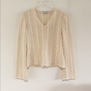 St John Collection Knit Cream Crochet V Sweater